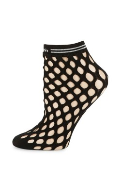 Mimi Fishnet Logo Anklet Black
