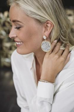 Alexandra Crystal Rocks Earrings Gold Crystal