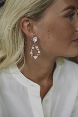 Delia Earrings Rhodium Delite/Light Peach