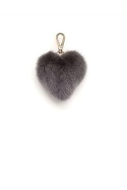 Mink Heart Charm Grey