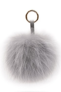 Raccoon Key Ring Pom Light Grey
