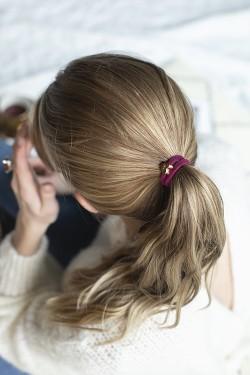 Velvet Hair Tie Heart Wildberry