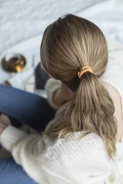 Velvet Hair Tie Heart Pale Orange