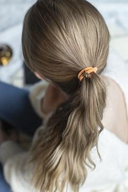 Velvet Hair Tie Star Pale Orange