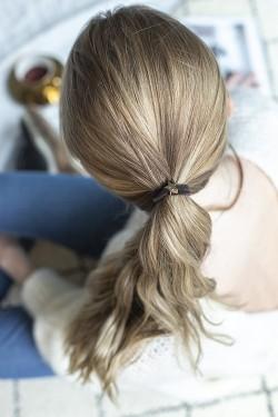 Velvet Hair Tie Star Chocolate Brown