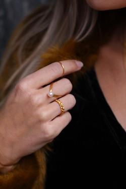 Small Braided Ring Matt Gold