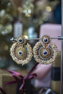 Large Tanushri Earrings Blue