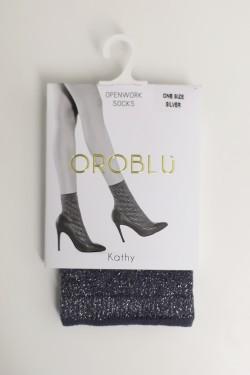 Kathy Openwork Socks Silver