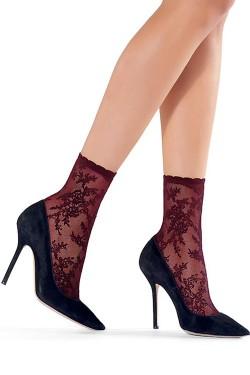 Marisol Lace Effect Socks Bordeaux