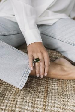 Grønn Zirconium Ring