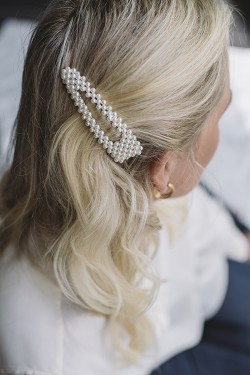 Classic Pearly Hairclip Silver