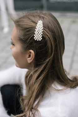 Full Pearly Hairclip Silver